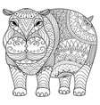 hippo coloring book vector image