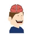brain idea man cartoon design vector image