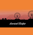 silhouette of carnival fun fair scenery vector image