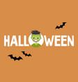 halloween conceptual sign frankenstein and black vector image