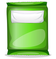 A green pouch with an empty label template vector image
