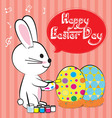 bunny paint egg easter vector image