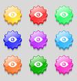 Eye Publish content icon sign symbol on nine wavy vector image