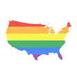 Map of The United States of America in LGBT Flag vector image