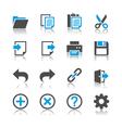 Application toolbar icons reflection vector image