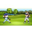 Boys playing baseball vector image