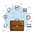 briefcase business office document meeting vector image