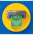 Getting money from an ATM bankomat card symbol vector image