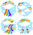happy children playing on the clouds and rainbow vector image