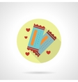 Round flat icon for lovers tickets vector image