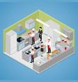 restaurant kitchen interior isometric vector image
