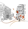 Town silhouette with people vector image vector image