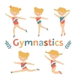 Adorable little gymnast girls characters set vector image
