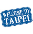 welcome to Taipei blue square grunge stamp vector image