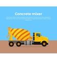 Cement Mixer Truck Banner Flat Design vector image
