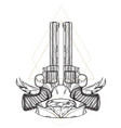 contour image of two revolvers ribbon and diamond vector image