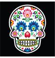 Mexican sugar skull Polish folk art style vector image