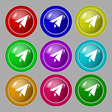 Paper airplane icon sign symbol on nine round vector image