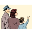 Family mom dad and son retro style pop art vector image