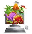 Computer screen with dinosaurs and volcano vector image