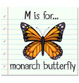 Flashcard letter M is for monarch butterfly vector image