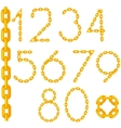 Gold Chain Number Collection Isolated vector image