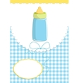 Babys greetings card with bottle vector image
