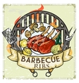 BBQ Grill label design - Ribs vector image