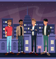 group men standign waiting - city at night in the vector image