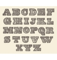 Original Font Wild West Wood Vintage Engraved vector image