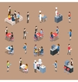 Set of Restaurant Icons in Isometric Projection vector image