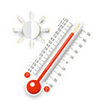 thermometer with sun icon hot weather symbol vector image