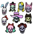 Colorful hand-painted skull vector image
