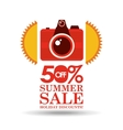 summer sale 50 discounts with photo camera vector image