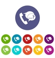 Phone sign and support speech bubbles set icons vector image