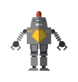 robot with warning alert support shadow vector image
