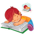 little boy reading a book and falling vector image