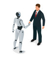 men and robot greet or confirm a deal handshake vector image