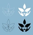 Plant and hand the black and white color icon vector image