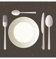 Place setting with plate knife spoons and fork vector image vector image