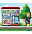 A lady in front of the ladies fashion store vector image
