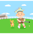 Boy playing in hunting vector image
