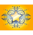 Yellow background with yellow and blue star vector image