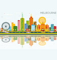 melbourne skyline with color buildings blue sky vector image