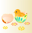 Easter chicken hatched from Easter eggs vector image