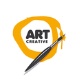 round logo brush and paint vector image vector image