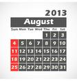Calendar 2013 August vector image vector image