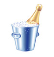 bottle of champagne in an ice bucket vector image
