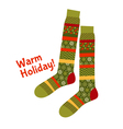 Christmas striped socks in patchwork style Xmas vector image