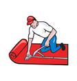 Carpet Layer Fitter Worker Cartoon vector image vector image